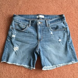 Loft Ann Taylor destroyed denim jean shorts 2 26